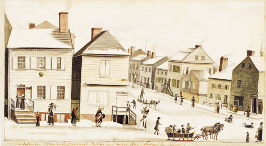 Hyde de Neuville, The Corner of Warren and Greenwich Streets, in the Snow, 1809. Watercolor, gouache, and graphite on paper. Museum of the City of New York.